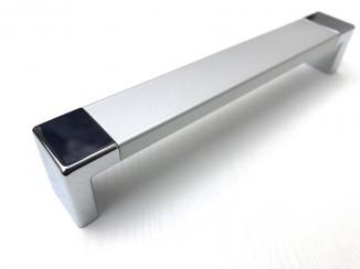 Ручка мебельная C-4409-160/160 A1-G2 (серебристый анодированный алюминий + хром) Nomet