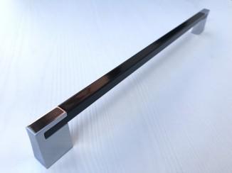 Ручка мебельная С-5149-256/256 Р59-G2 (черный глянец + хром) Nomet