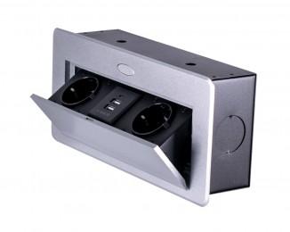 Блок врізний на 2 розетки і 2 USB з підйомною кришкою та круглими краями Алюміній