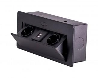 Блок врізний на 2 розетки і 2 USB з підйомною кришкою та круглими краями Чорний