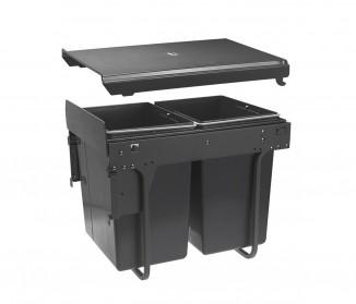 Сегрегатор GTV для кухонних шаф 400 мм 20+2х10л з кріпленням фасаду Графіт (PB-45-MF202X10-60A)