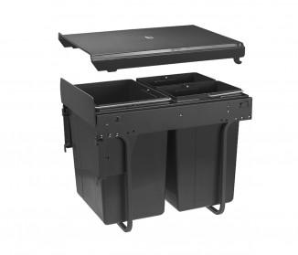 Сегрегатор GTV для кухонних шаф 400 мм 2х20л з кріпленням фасаду Графіт (PB-45MF002X20-60A)