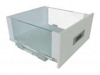 Висувний ящик з скляними боковинами GIFF Flat Box L=450мм Н=199 мм білий