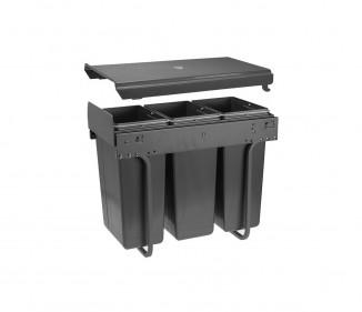 Сегрегатор GTV для кухонних шаф 300 мм 3*10л графіт (PB-45-0010х3-60A)